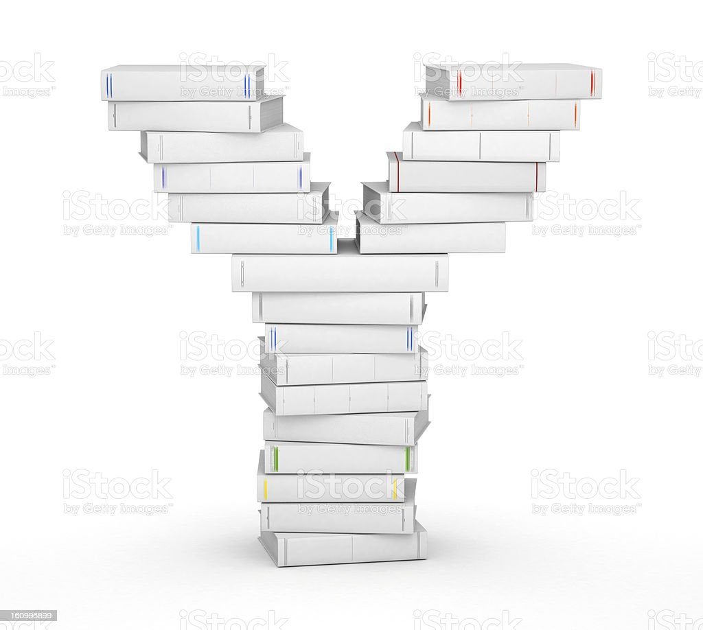 Letter Y, stacked from blank books royalty-free stock photo