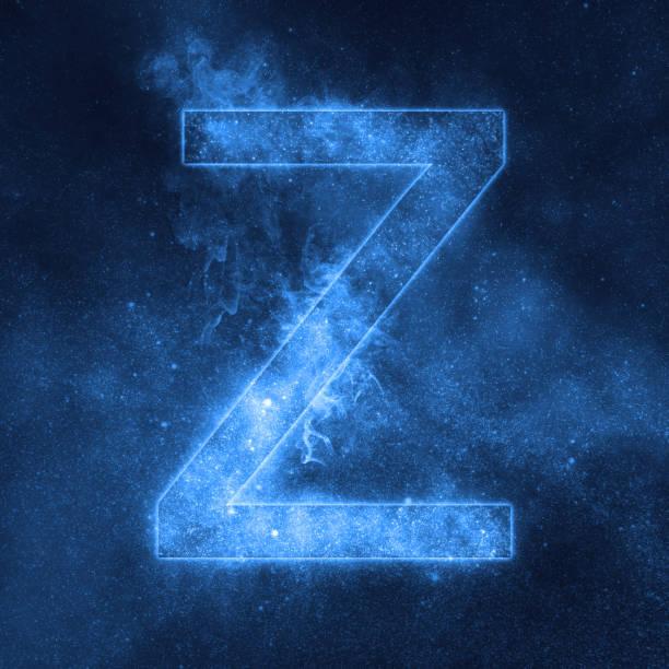 Letter Z alphabet symbol. Space Letter, Night Sky Letter. stock photo