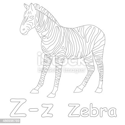 Letter Z For Zebra Coloring Page Stock Photo 486998769