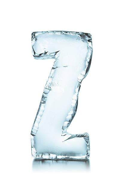 Letter Z frozen ice block alphabet stock photo