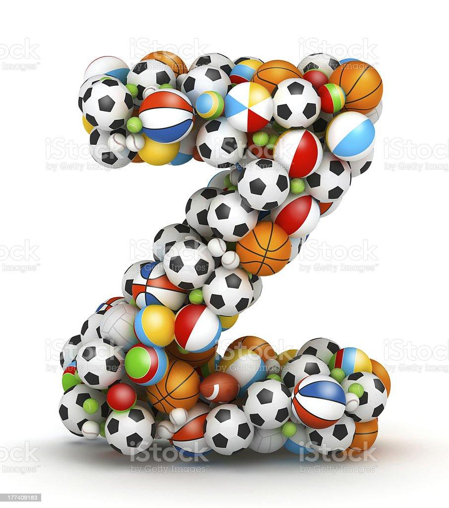Letter Z, gaming balls alphabet stock photo