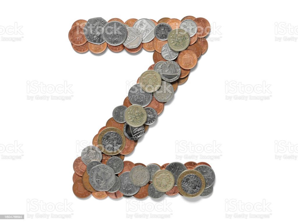 Letter Z in British Coins royalty-free stock photo