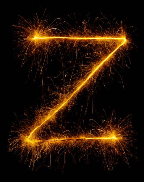 Letter Z in Fireworks stock photo