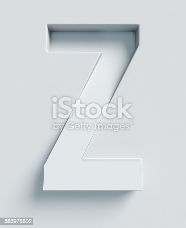 583978326 istock photo Letter Z slanted 3d font engraved and extruded from surface 583978802