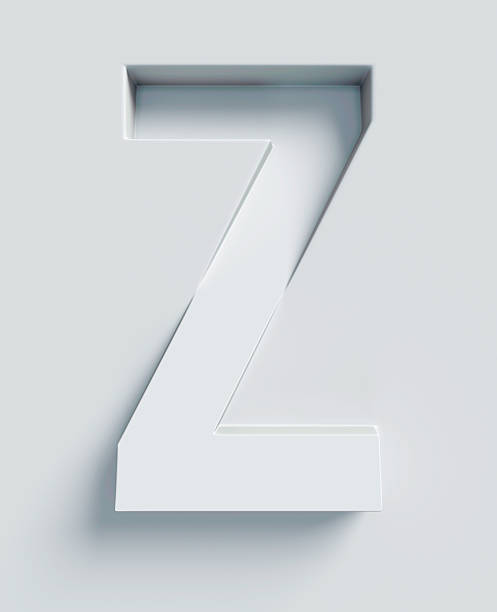 Letter Z slanted 3d font engraved and extruded from surface stock photo