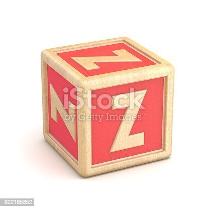 istock Letter Z wooden alphabet blocks font rotated. 3D 622185352