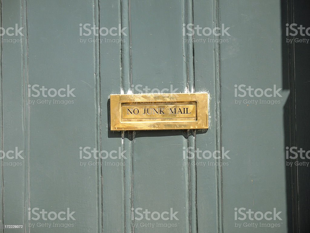 Letterbox No Junk Mail stock photo