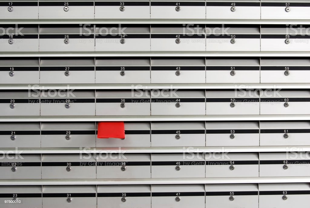 Letterboxes and red letter royalty-free stock photo