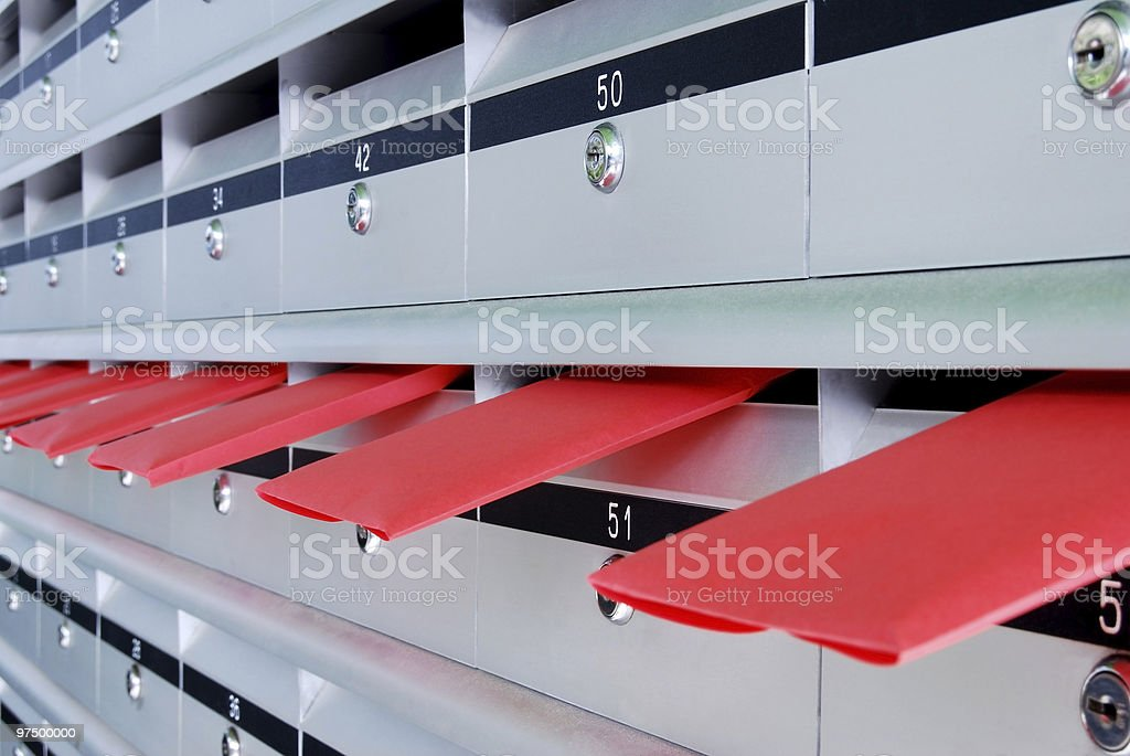 Letterboxes and red letters royalty-free stock photo