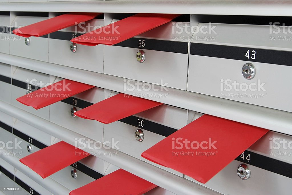 Letterboxes and red letters stock photo