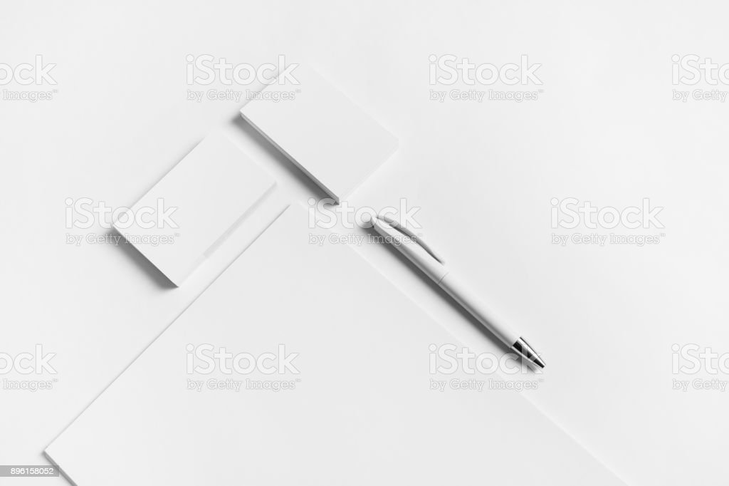 Letterhead, business cards, pen stock photo