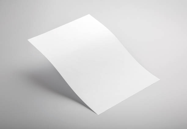 Letterhead mock up Photo of white letterhead isolated on gray background. Template for branding identity. For graphic designers presentations and portfolios. Letterhead isolated on gray. White letterhead mock-up. Photo mock up. letterhead stock pictures, royalty-free photos & images