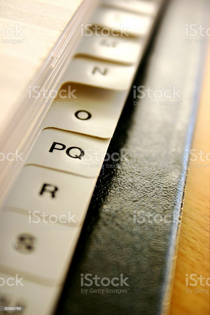 Letter-index in folder royalty-free stock photo