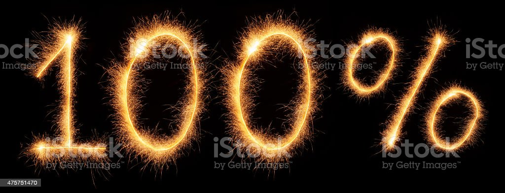 '100%' lettering drawn with bengali sparkles stock photo