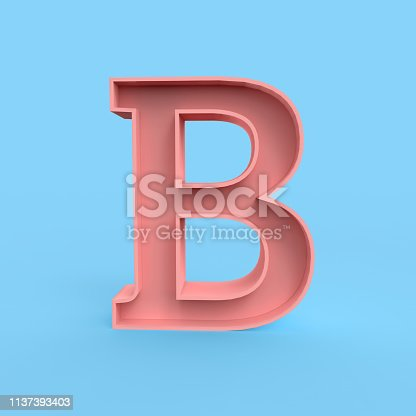 845304606 istock photo B lettering front view isolated on pastel blue BG 1137393403