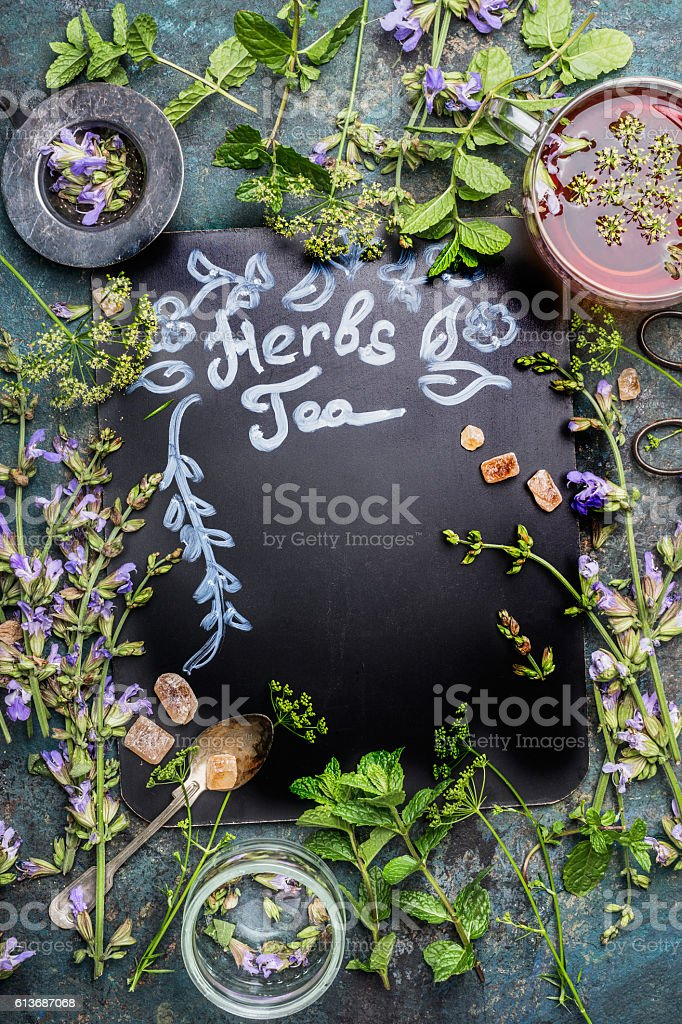 Lettering Herbs Tea On Dark Chalkboard With Fresh Herbs Stock Photo