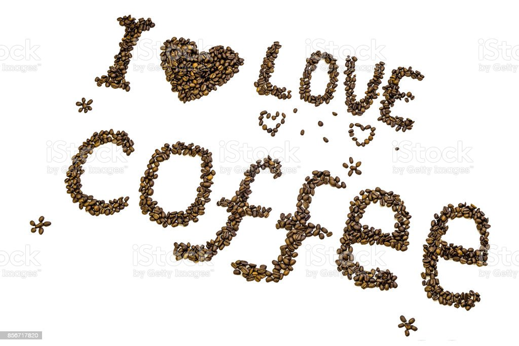 Lettering 'I love coffee' made of roasted coffee beans isolated on a white background. stock photo