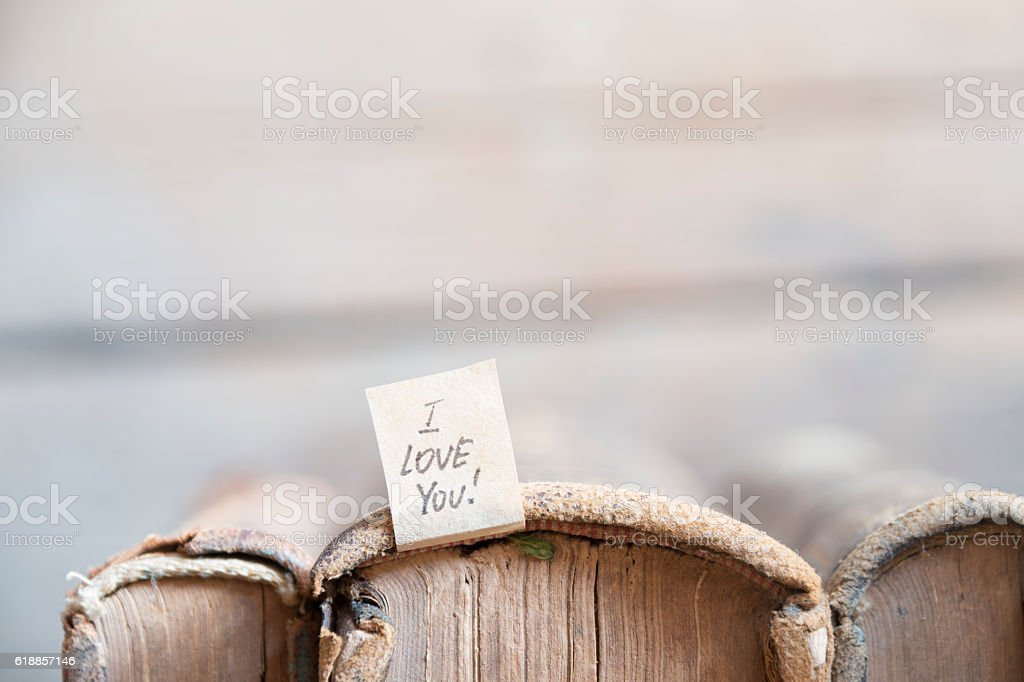 I LOVE YOU lettering. Vintage Valentine card. Soft focus. stock photo