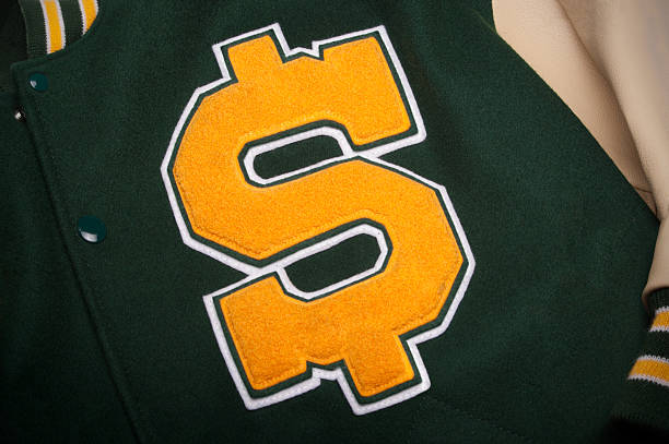 Letterman jacket with a dollar symbol stock photo