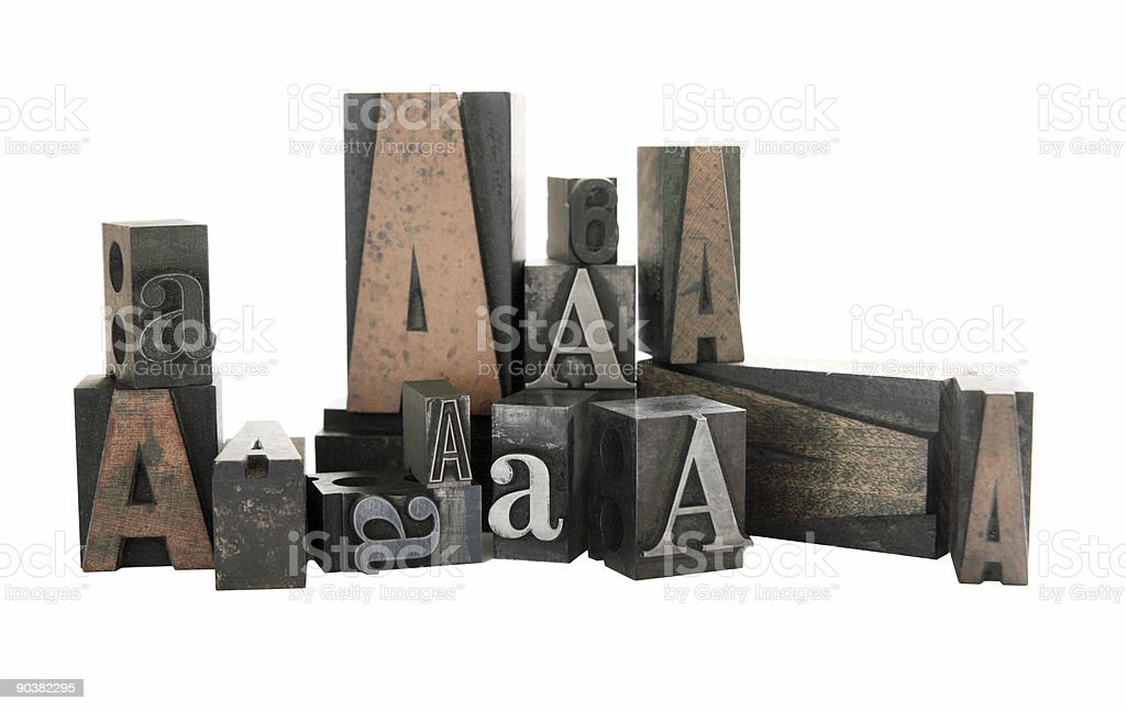 letterpress A in wood and metal royalty-free stock photo
