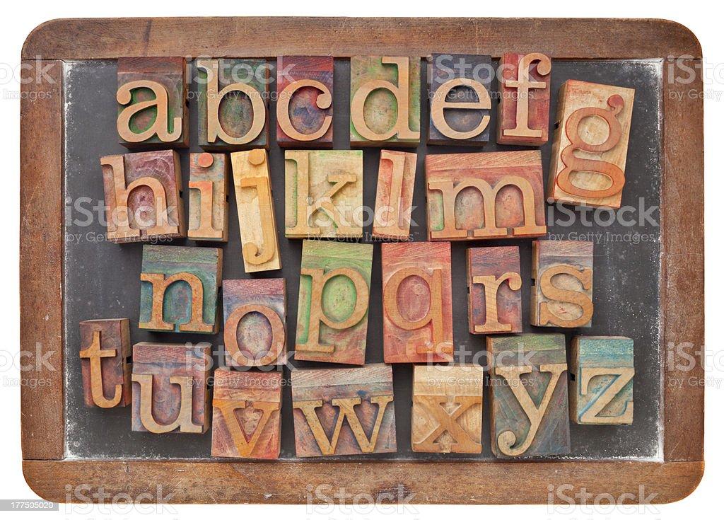 letterpress alphabet on blackboard royalty-free stock photo