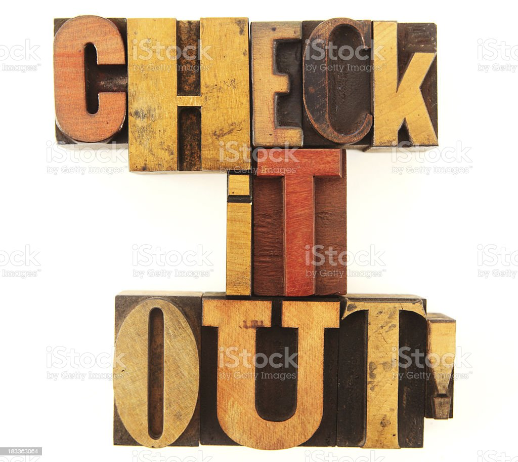 Letterpress - Check it out royalty-free stock photo