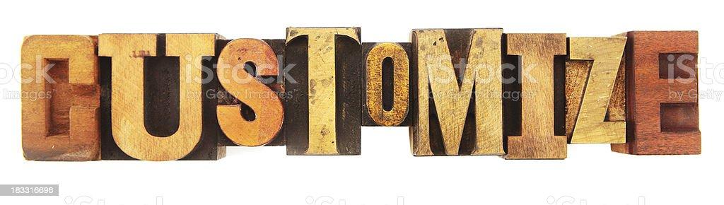 Letterpress - Customize royalty-free stock photo