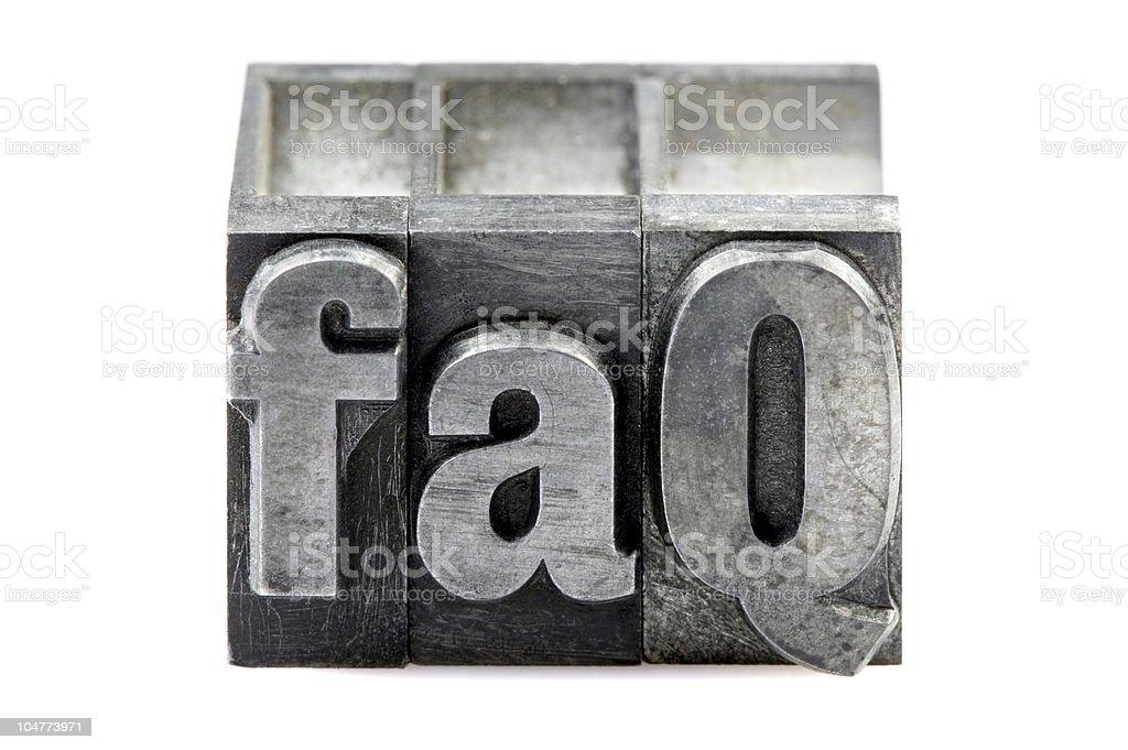 Letterpress FAQ royalty-free stock photo