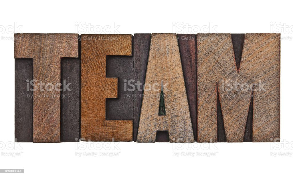TEAM - Letterpress Letters royalty-free stock photo