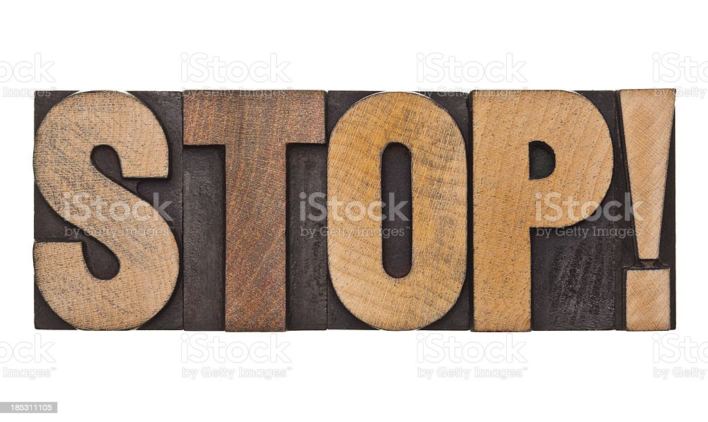 STOP! - Letterpress Letters royalty-free stock photo