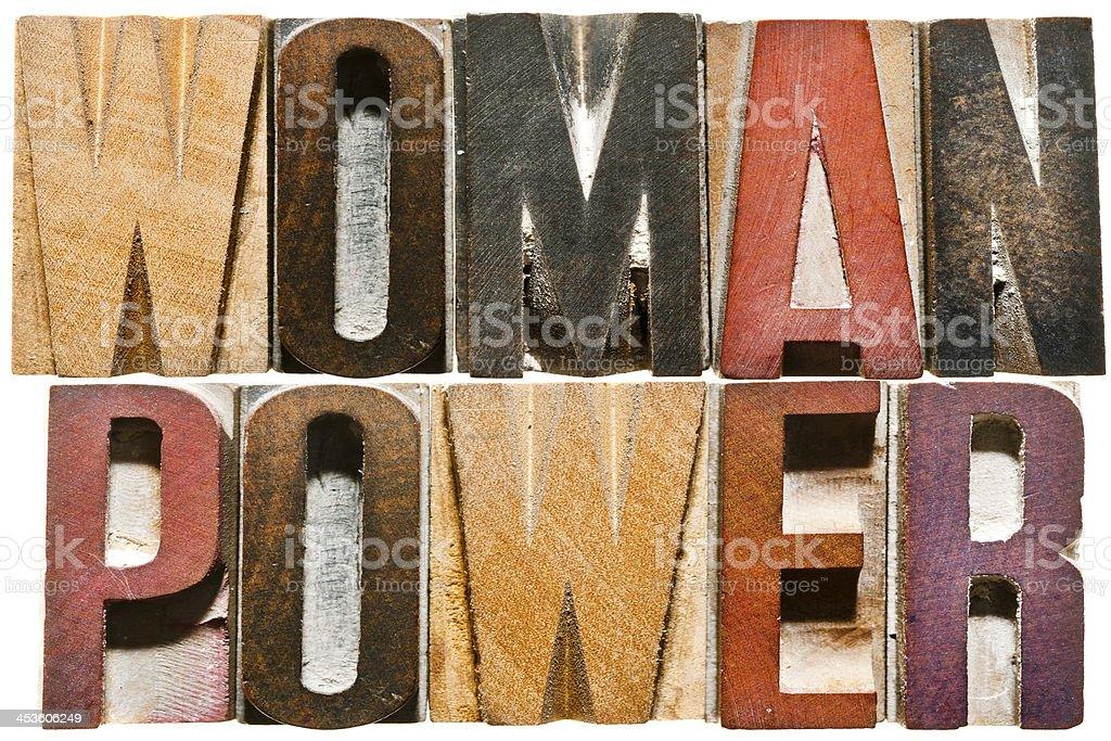 Letterpress Letters: WOMAN POWER stock photo