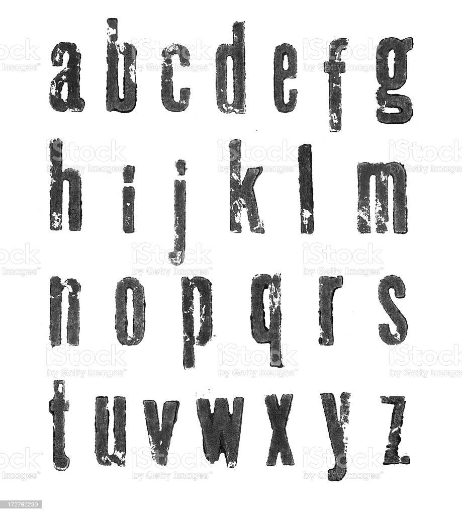 Letterpress lowercase alphabets - a to z royalty-free stock photo