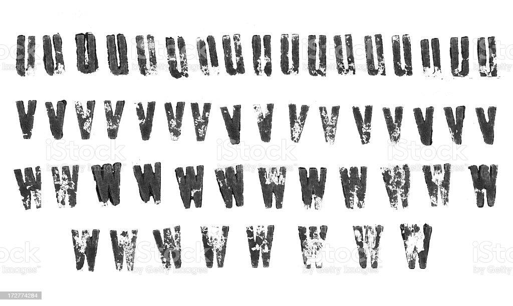 Letterpress lowercase alphabets - u to w royalty-free stock photo