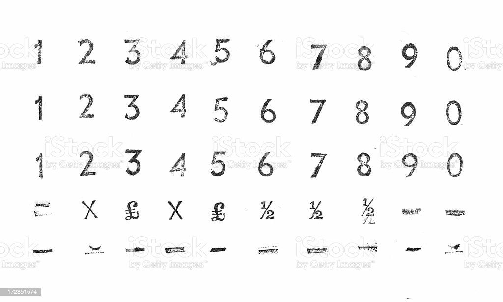 Letterpress numbers - 1 to 0 royalty-free stock photo
