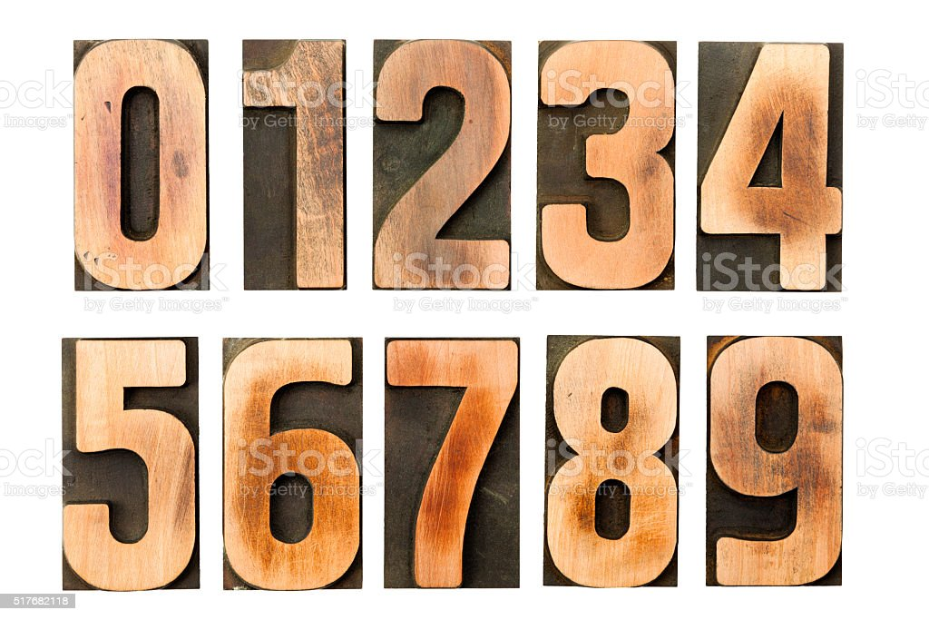 Letterpress numbers printing blocks isolated stock photo
