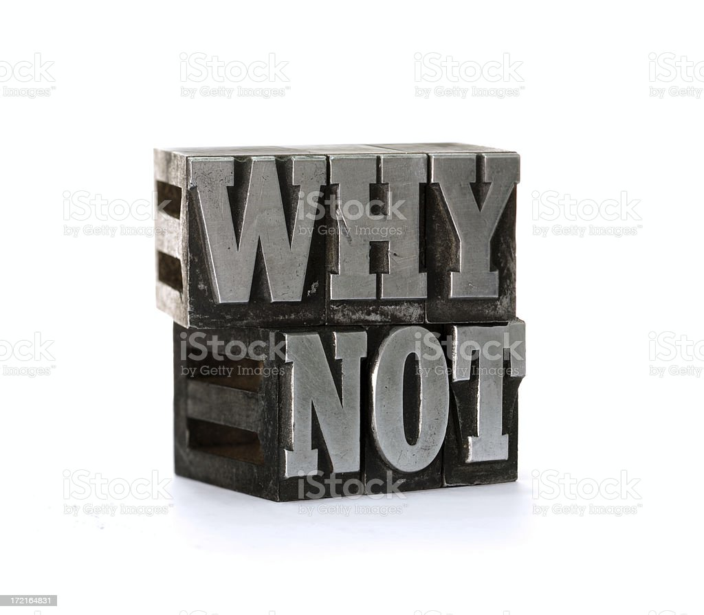 WHY NOT  letterpress royalty-free stock photo