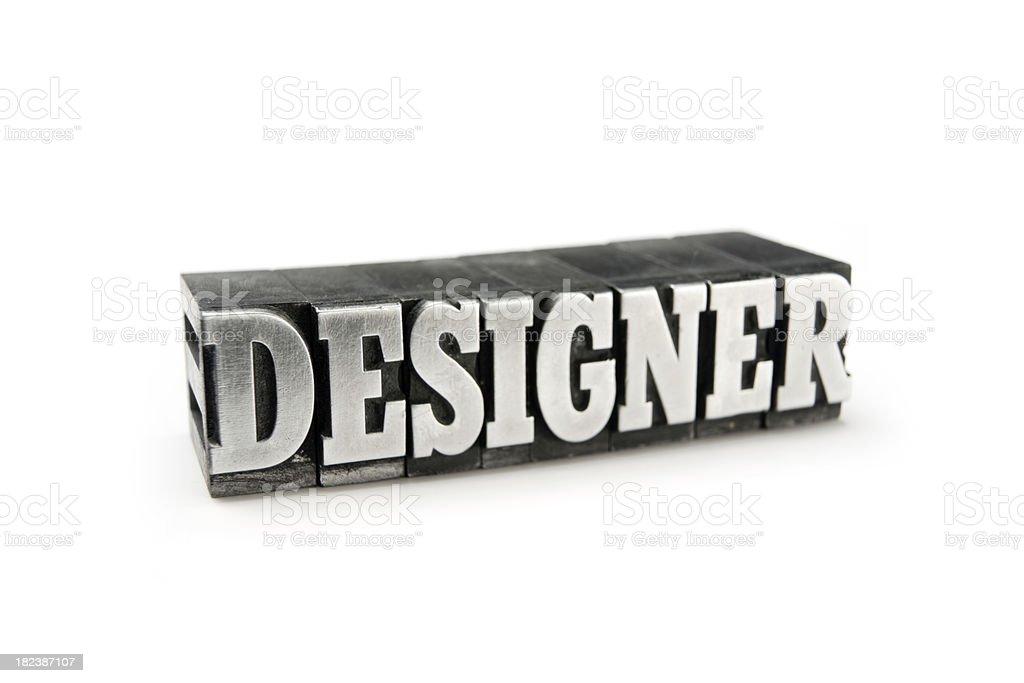 DESIGNER letterpress royalty-free stock photo