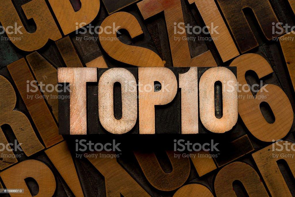 TOP 10 - letterpress type - foto stock