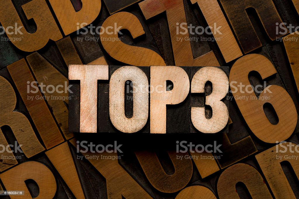 TOP 3 - letterpress type stock photo
