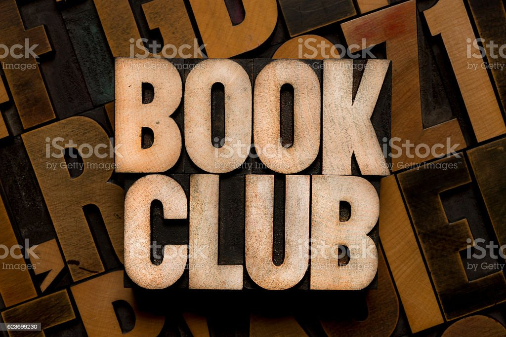 BOOK CLUB - Letterpress type stock photo