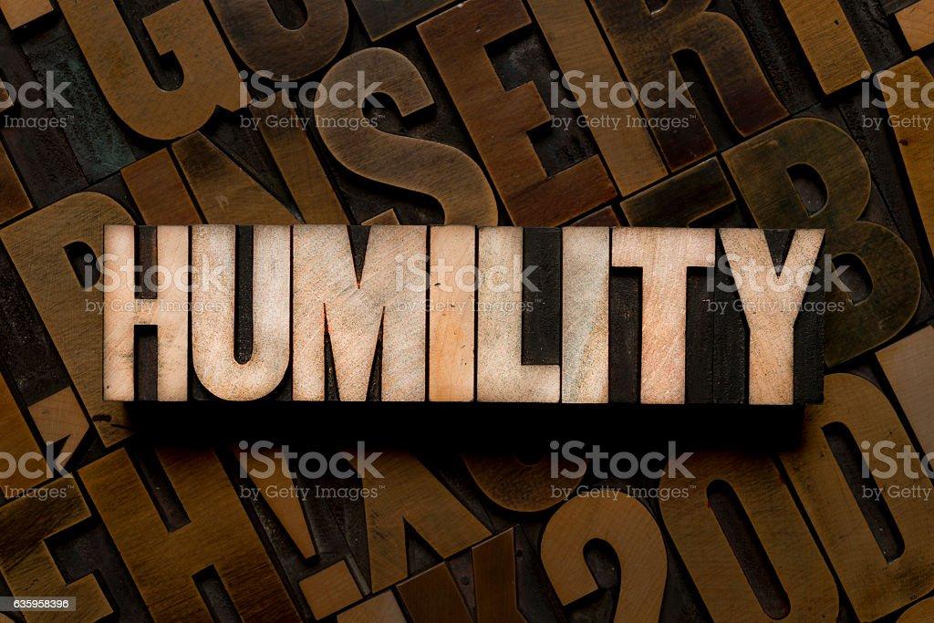 HUMILITY - Letterpress type stock photo