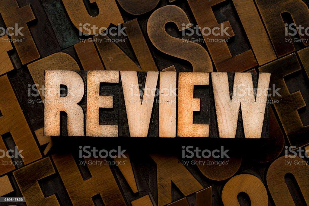 REVIEW - Letterpress type stock photo