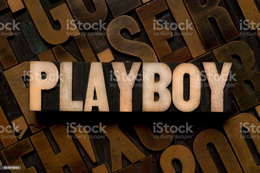 Letterpress type - PLAYBOY stock photo