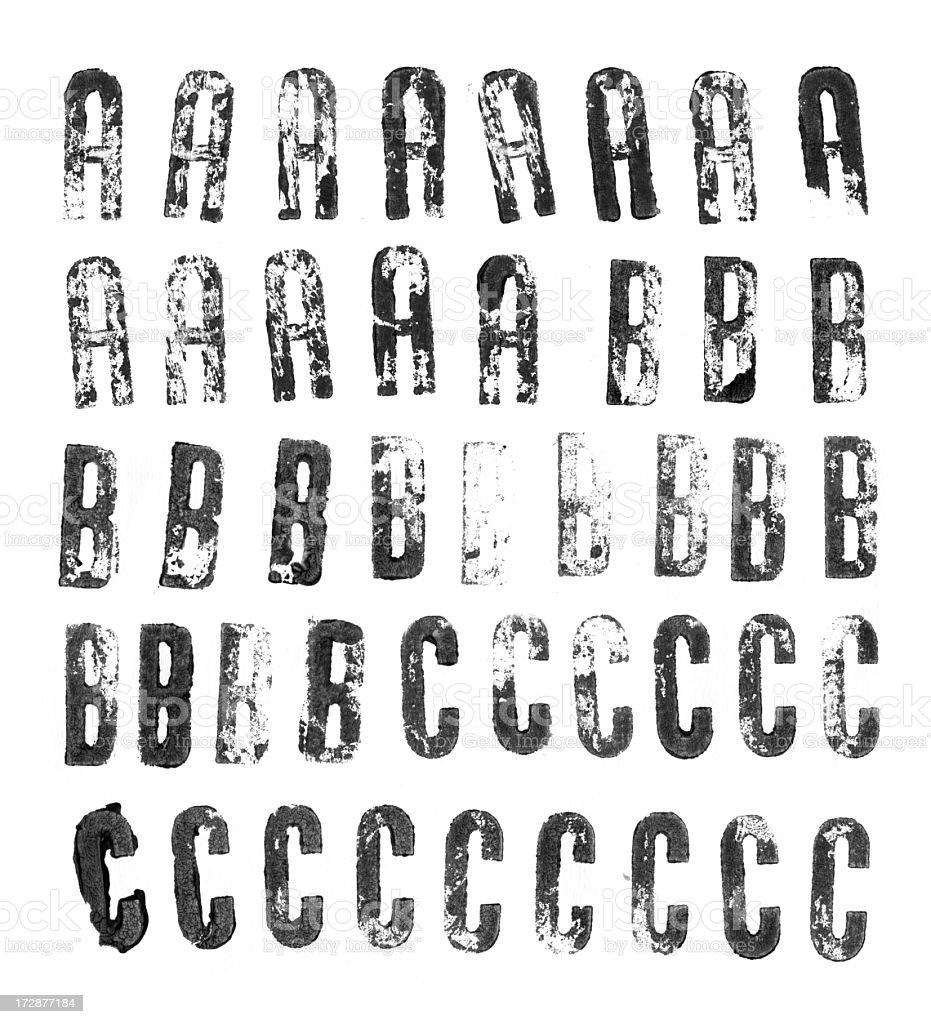 Letterpress uppercase alphabets from A to C royalty-free stock photo