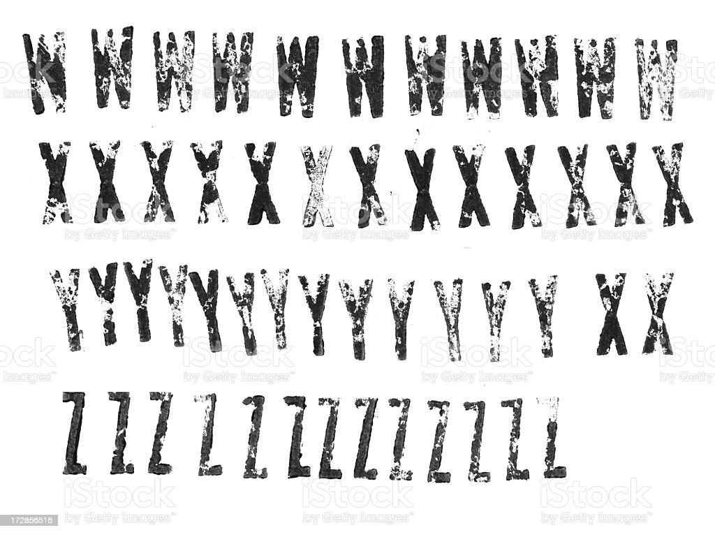 Letterpress uppercase alphabets from W to Z royalty-free stock photo