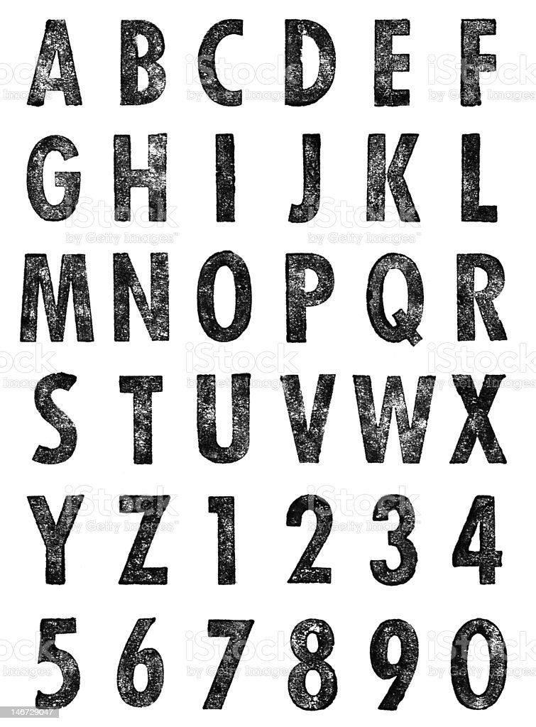 Letterpress Uppercase Letters & Numbers stock photo