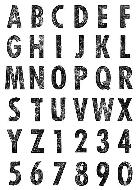 letterpress uppercase letters & numbers - letterpress stock photos and pictures