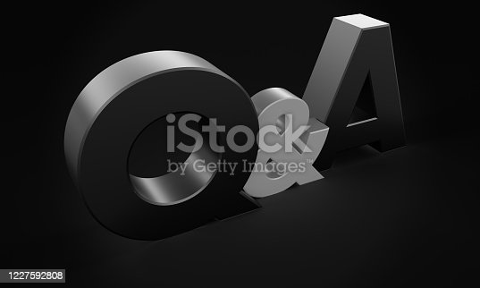 3D render of a Questions and Answers sign on a black background