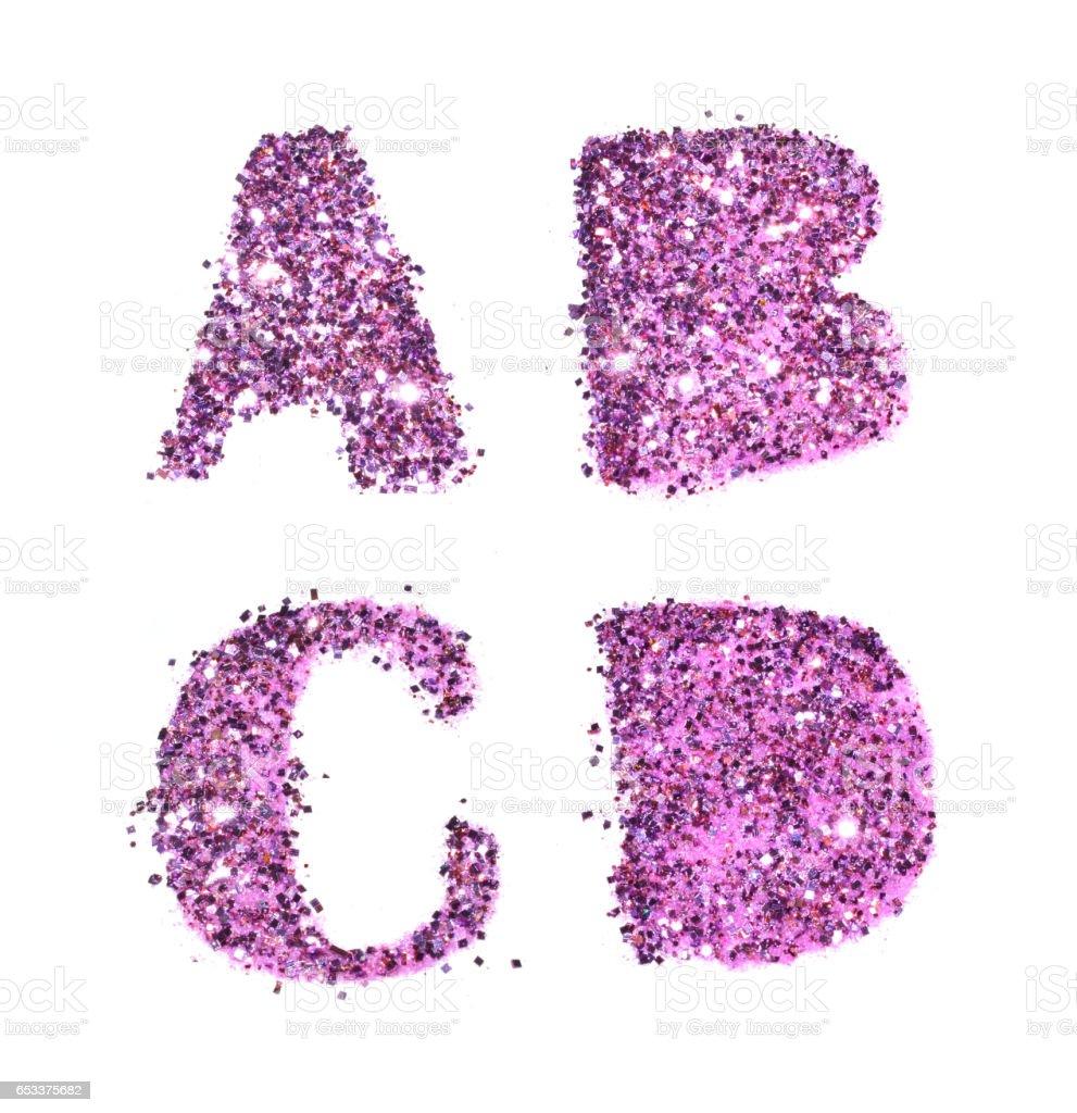 Letters A, B, C, D of purple glitter sparkle on white stok fotoğrafı