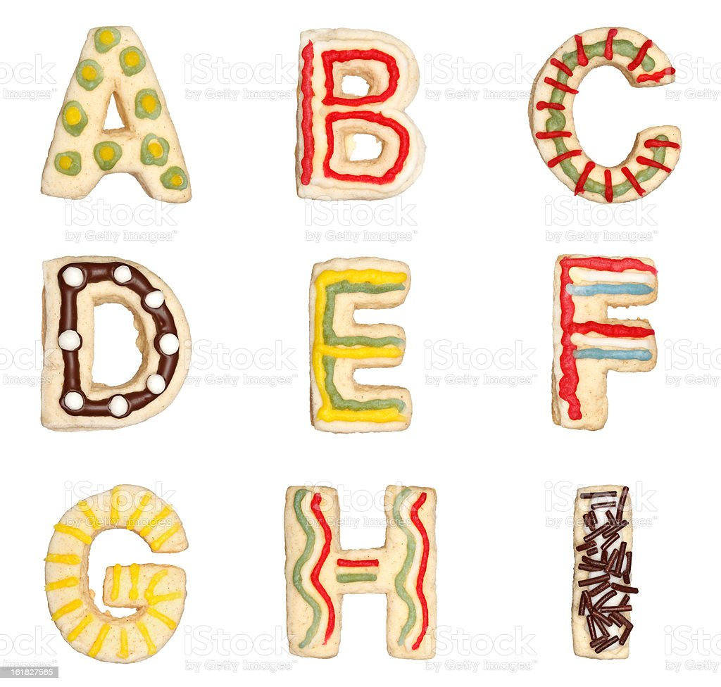 Letters A to I from decorated cookies stock photo